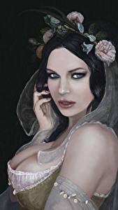 Обои Рисованные Брюнетка Взгляд Черный фон Красивые Девушки
