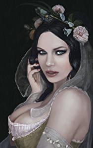 Обои Рисованные Брюнетки Взгляд На черном фоне Красивый Девушки