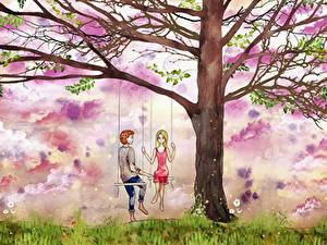 Картинки Рисованные Влюбленные пары Деревьев Качели Парни Девушки