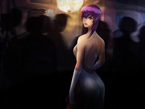 Фото Рисованные Призрак в доспехах Взгляд Спины Красивая Фан АРТ Ghost in the Shell: Stand Alone Complex, Kusanagi Motoko молодые женщины