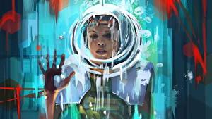Картинка Рисованные Шлема Рука Фантастика Девушки