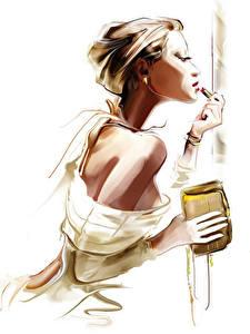 Картинка Рисованные Макияж Белый фон Девушки