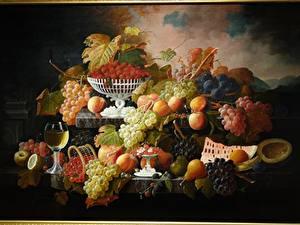 Обои Рисованные Картина Фрукты Виноград Листья Severin Roesen