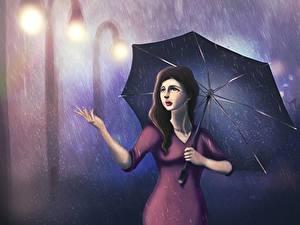 Фотографии Рисованные Дождь Зонт Девушки
