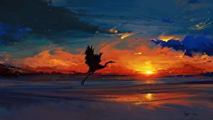 Фото Рисованные Аисты Рассвет и закат Птицы Природа