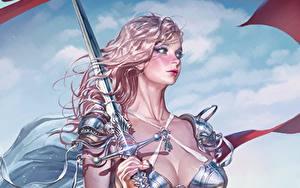 Обои Рисованные Воины Меча Блондинки Волосы Красивые KyuYong Eom Фэнтези Девушки