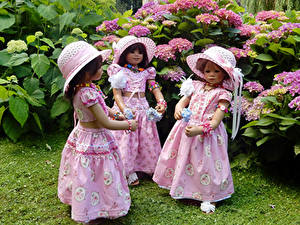 Фото Парки Гортензия Кукла Девочки Шляпа Платья Три Grugapark Essen Природа