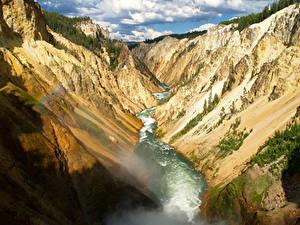 Фото Парки Реки США Йеллоустон Скала Каньон Wyoming