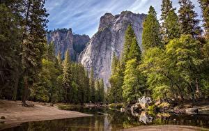 Обои для рабочего стола Парк США Реки Камни Мост Йосемити Калифорнии Скала Природа