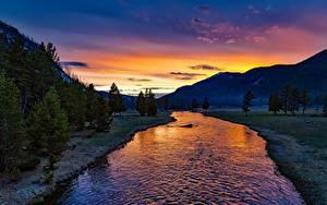 Обои для рабочего стола Парк Америка Рассвет и закат Гора Леса Река Пейзаж Йеллоустон Wyoming, Yellowstone River Природа