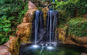 Картинки Парки Водопады Утес HDR