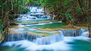 Обои Парки Водопады Таиланд Erawan Waterfall, Kanchanaburi Province, Erawan National Park Природа