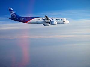 Фотография Самолеты Пассажирские Самолеты Сбоку Летящий Irkut MC-21