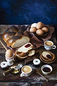 Картинка Выпечка Кофе Капучино Варенье Хлеб Завтрак Яйцами Чашка Еда
