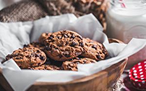 Фотография Выпечка Печенье Шоколад Боке