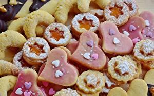 Фото Выпечка Печенье Сахарная пудра Серце Звездочки