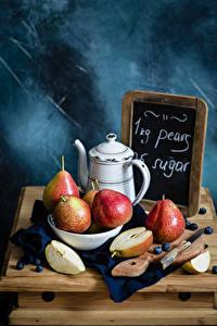 Фотография Груши Нож Черника Натюрморт Кувшин Разделочная доска Пища