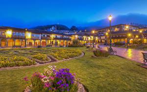 Картинки Перу Здания Вечер HDRI Уличные фонари Скамья Газоне Cusco город