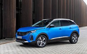 Фотографии Peugeot Кроссовер Синие Металлик 3008, UK-spec, 2021 авто