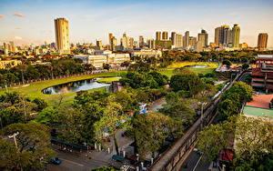 Фотография Филиппины Здания Парк Улиц Дерева Сверху Manila, Intramuros город