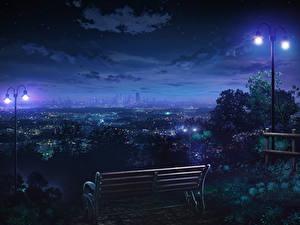 Обои Живопись Рисованные Скамья Уличные фонари В ночи