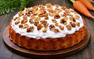Фото Пирог Вблизи Орехи Сахарная глазурь Пища