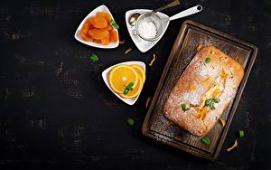 Картинки Пирог Сахарная пудра Сушеные абрикосы Апельсин