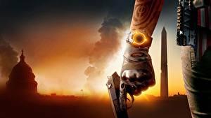 Картинка Пистолет Часы Наручные часы Крупным планом Tom Clancy Рука Перчатки The division 2 Игры