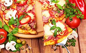 Фотографии Пицца Крупным планом Томаты Пища