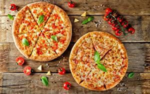Обои Пицца Томаты Вдвоем Пища