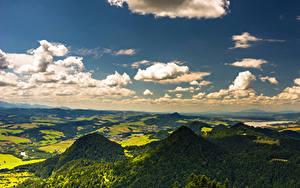 Фото Польша Небо Горы Поля Лес Облачно Pieniny Природа