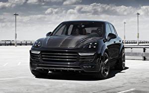 Картинки Порше Черные Спереди 2015 TopCar Cayenne автомобиль