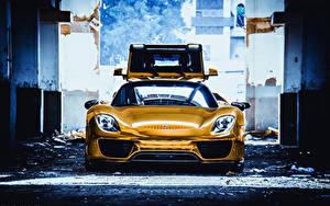 Обои Porsche Золотой Спереди 918 Spyder авто