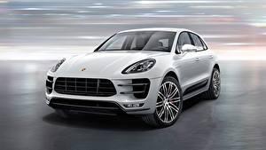 Картинки Porsche Спереди CUV Белая Macan Turbo, with Turbo Package, 2015 машины