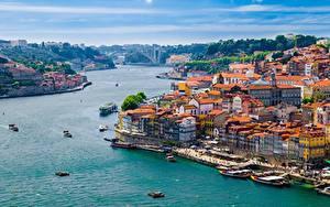 Фото Порту Лиссабон Речка Пирсы Речные суда Здания Douro river
