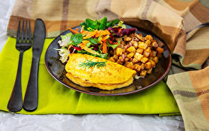 Картинка Картофель Овощи Ножик Тарелка Завтрак Яичница Вилка столовая Еда