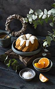 Фотография Кекс Апельсин Сахарная глазурь Доски Еда