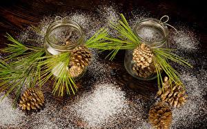 Картинки Сахарная пудра Банка Доски Шишки Ветки Природа