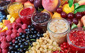 Фото Варенье Малина Смородина Фрукты Ягоды Банка Продукты питания