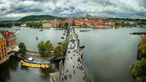 Фото Прага Чехия Реки Мост Сверху Charles bridge, Vltava город