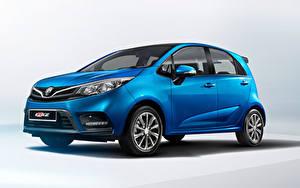 Картинки Синяя Металлик Proton Iriz, 2019 Автомобили