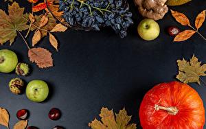 Фотография Тыква Осень Яблоки Виноград Листья Жёлудь Шаблон поздравительной открытки Еда