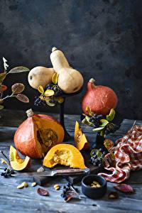 Фото Тыква Ягоды Натюрморт Кусочки Пища