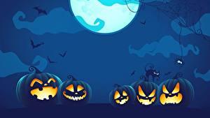 Фотографии Тыква Векторная графика Хэллоуин Луны Ночь
