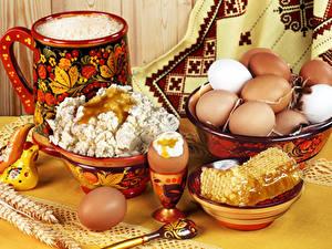 Фотография Творог Мед Натюрморт Яйца Миска Продукты питания