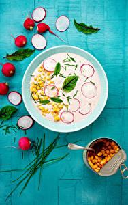 Фото Редис Кукуруза Супы Тарелке Продукты питания