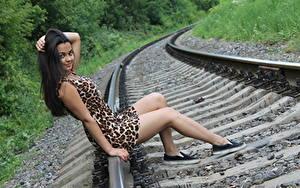 Фотографии Рельсы Брюнеток Сидит Руки Платья Ноги Улыбается молодые женщины