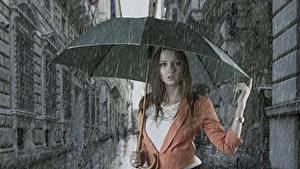 Фотография Дождь Зонт Девушки