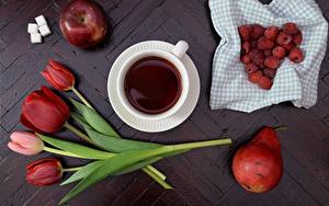 Картинки Малина Яблоки Груши Тюльпан Чай Сахара Пища