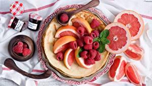 Картинка Малина Цитрусовые Фрукты Грейпфрут Продукты питания